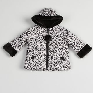 KC Collections Toddler Girls Black/ White Leopard Jacket