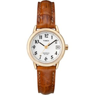 Timex Womens T2J761 Easy Reader Brown Leather Strap Watch