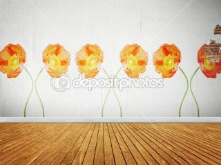 Vintage room with floral wallpaper  Foto stock © Marina Bolow