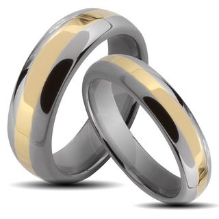 Two tone Tungsten Carbide Stripe His and Hers Wedding Band Set