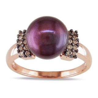 Miadora 14k Rose Gold Pearl and 1/5ct TDW Brown Diamond Ring (9 10 mm
