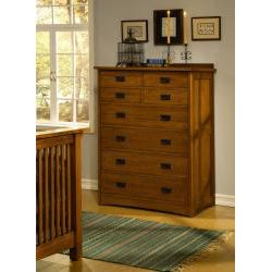 Mission Solid Oak 4 piece Queen Panel Bedroom Set w/ 8 drawer Tall