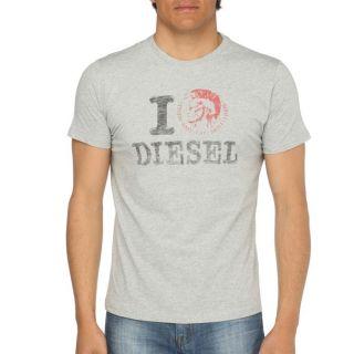 DIESEL T Shirt Ilove Homme Gris chiné   Achat / Vente T SHIRT DIESEL