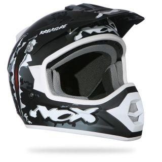 NOX Casque Moto/Scooter Cross N723   Coloris noir, blanc, gris motif