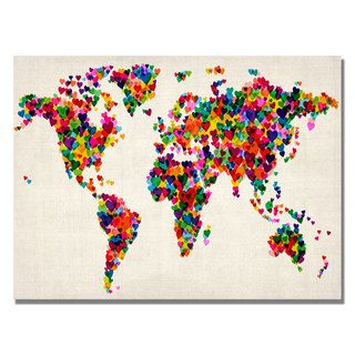 Michael Tompsett Hearts World Map Canvas Art