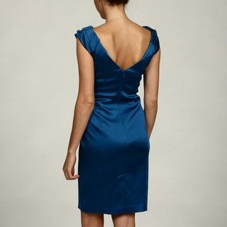 Jax Womens Cobalt Shutter Pleat Sheath Dress
