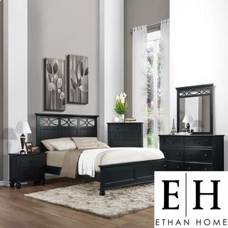 ETHAN HOME Piston 5 piece Black Rubberwood Bedroom Set