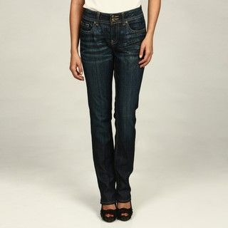 Miss Vigoss Womens Dark Wash Bead embellished Straight Leg Jeans