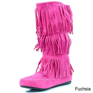 Stanzino Womens Fringed Moccassin Boots