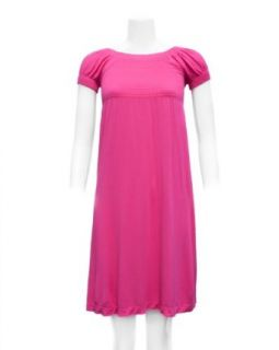 Fuchsia Pink Ladies Stretch Comfort Casual Dress Clothing