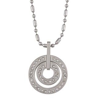 Stainless Steel Double Circle Crystal Necklace