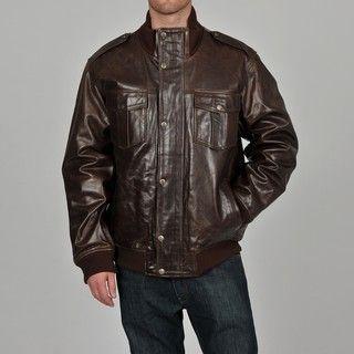 Knoles & Carter Mens Big & Tall Classic Urban Leather Bomber Jacket