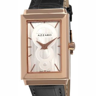 Azzaro Mens Legend Rectangular Rose Gold PVD Silver Face Watch