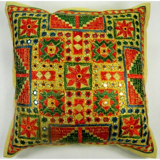 Traditional Indian Multicolor Hand Stitched Embroidered Cushion Cover