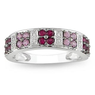 10k White Gold Created Ruby/ Pink Sapphire and Diamond Fashion Ring