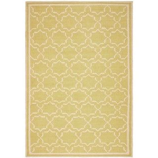 Handmade Green/ Ivory Dhurrie Wool Rug (6 x 9)