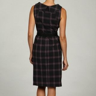 Madison Leigh Womens Black/Grey Plaid Boat Neck Dress