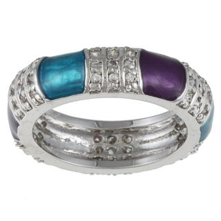Kate Bissett Silvertone Turquoise and Purple Accent Cubic Zirconia