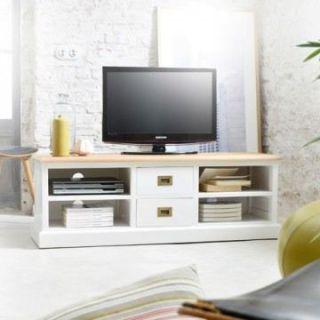 Meuble TV blanc et Teck 130 Cottage   Achat / Vente MEUBLE TV   HI FI