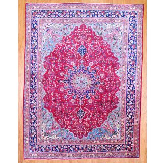 Persian Hand knotted Red/ Navy Mashad Wool Rug (96 x 126