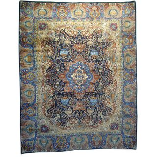 Persian Hand knotted Kashmar Blue Wool Rug (910 x 126)