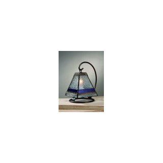 J Devlin Lam 573 Vintage & Plum Stained Glass Mini Lamp
