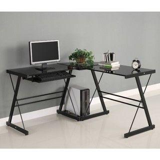 Shape Black Glass Corner Computer Desk
