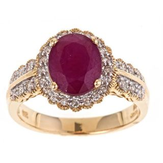 Yach 14k Yellow Gold Ruby and 2/5ct TDW Diamond Fashion Ring (G H