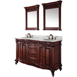 Wyndham Collection Eleanor Cherry 60 inch Double Bathroom Vanity
