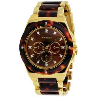 Vernier Womens Gold Tone/ Tortoise Resin Faux Chrono Bracelet Watch