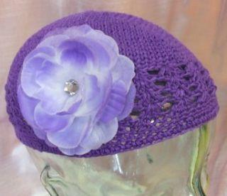 Olivia Crochet Baby Hat (Purple Hat/Lavender Flower