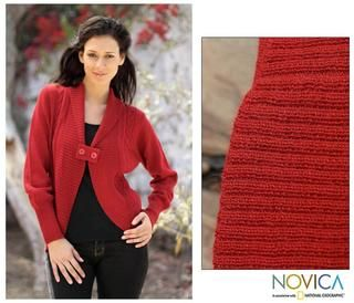 Womens Alpaca Wool Red Rose Cardigan Sweater (Peru)
