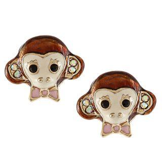 Betsey Johnson Cubic Zirconia Goldtone Brown Monkey Stud Earrings