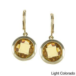 Carolee Round Bezel Cubic Zirconia Drop Earrings