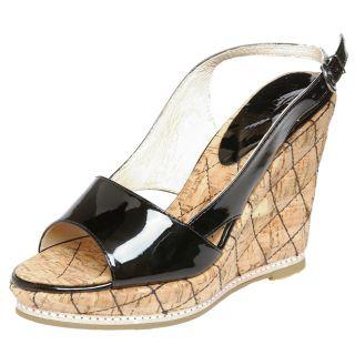 Boutique 58 Womens Black Patent Wedge Sandal