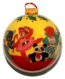 Painted Glass Ornament, Dancing Teddy Bears CO 113