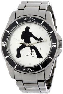 Elvis Presley Mens EP105 Classic Round Gun Metal Bracelet Watch