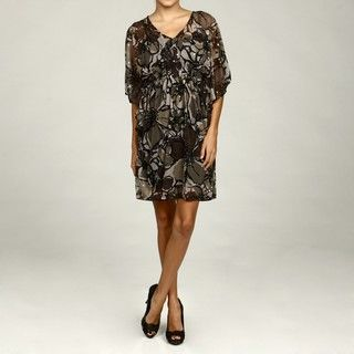 Robbie Bee Womens Black/ Grey Ruffle Sequin Dress