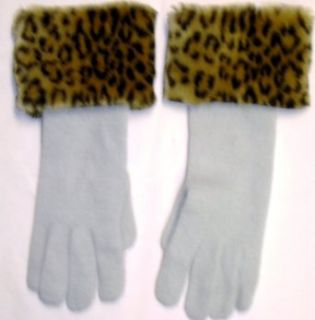 Winter White Angora Wool Gloves Hand Trimmed with Fluffy
