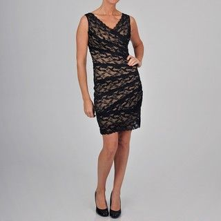 Onyx Nite Womens All Over Lace Dress with Beading