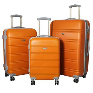 American Green Travel 3 piece Lightweight Expandable Orange Hardside