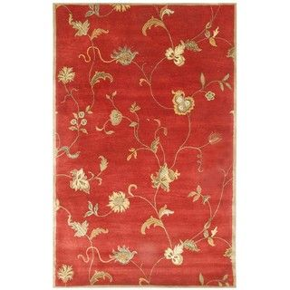 Diana Hand tufted Red/ Gold Wool Rug (5 x 8)