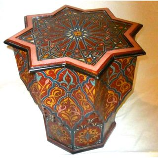 Hand painted Burgundy Arabesque Wooden End Table (Morocco)