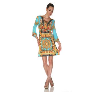 White Mark Womens Venezia Gold/ Turquoise Mix Print Dress