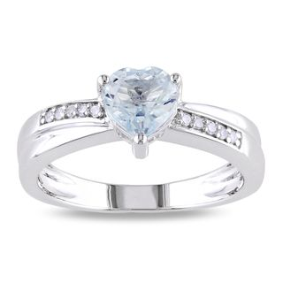 Miadora 10k White Gold Aquamarine and Diamond Ring (G H, I1 I2