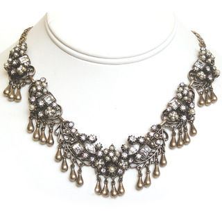 Sweet Romance Pearl and Crystal Garden Collar Necklace