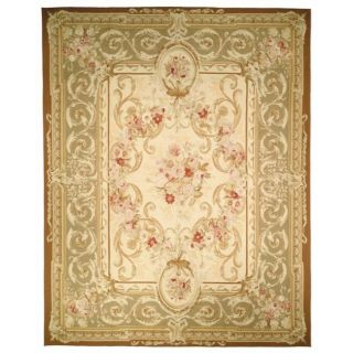 Hand knotted French Aubusson Ivory Wool Rug (12 x 15)