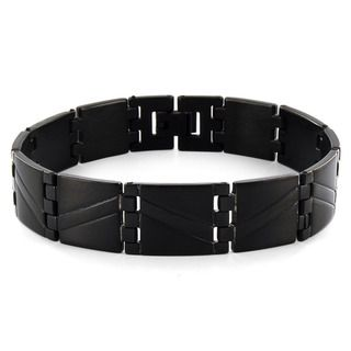 West Coast Jewelry Blackplated Stainless Steel Wave Pattern Link Mens