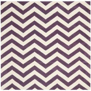 Handmade Chevron Purple/ Ivory Wool Rug (7 Square)