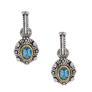 Oro Leoni 14k Gold and Sterling Silver Blue Topaz Earrings